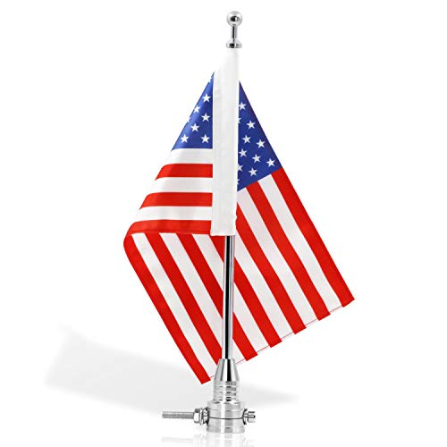 Anley Motorcycle Flagpole Mount and American Flag - 7 x 10 Premium Double Sided USA Flag - Stainless 14 Flag Pole Fixed Mount for 1/2 Tubular Luggage Racks For Harley Davidson Goldwing Etc