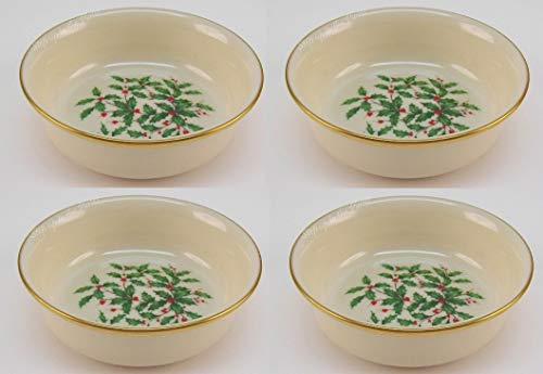 Lenox Holiday Fruit Dessert Bowls 24 k Gold Banded Fine China~ Set of 4 - MADE IN USA