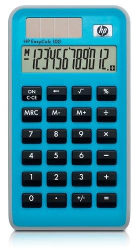 HP EasyCalc 100 - Calculadora (bolsillo, Básico, Azul, 12 x 3.1 mm, 56.6 x 16.3 mm, Battery/Solar)