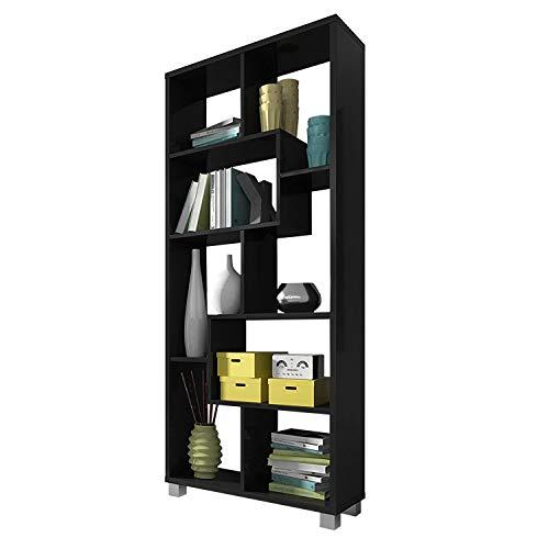 SelectionHome Estantería Multiposición, Librería para Salón o Oficina, Modelo Deluxe, Color Negro Mate, Medidas: 68,5 cm (Ancho) x 161 cm (Alto) x 25 cm (Fondo)