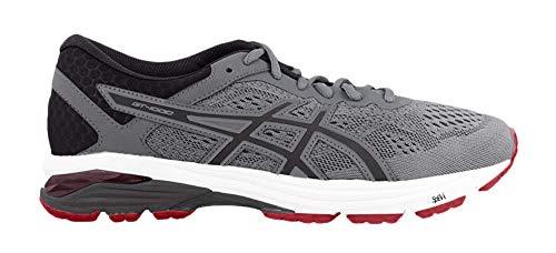 ASICS GT-1000 6 Men's Running Shoe, Stone Grey/Black/Classic Red, 8.5 M US