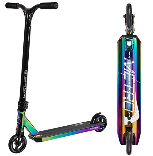 Longway Metro Stunt-Scooter H = 79 cm Trick Park Tret-Roller + Fantic26 Pegatinas (negro/neocromático)