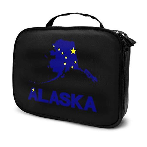 Bolsa de maquillaje portátil con diseño de mapa de la bandera de Alaska, bolsa organizadora de viaje para mujeres y niñas
