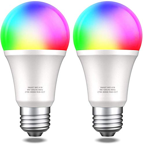 Smart WiFi Alexa Light Bulbs, DGO Smart Bulbs No Hub Required RGB Color Changing Compatible with Alexa, Echo, Google Home, and IFTTT, E26 Multicolor, Remote Control, Pack of 2