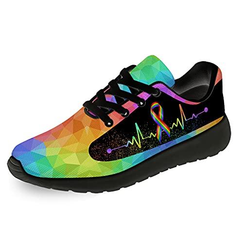 Pride Shoes Mens Womens Running Shoes LGBT Gay Lesbian Pride Colorful Rainbow Ribbon Tennis Walking Sport Shoes Gift for Men Women,8 Men/9.5 Women Black