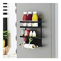 ストレージオーガナイザー冷蔵庫サイドウォールマウント、キッチンシェルフサイドハンギングストレージ多機能省スペースおよび耐久性のあるコンディショニングラック