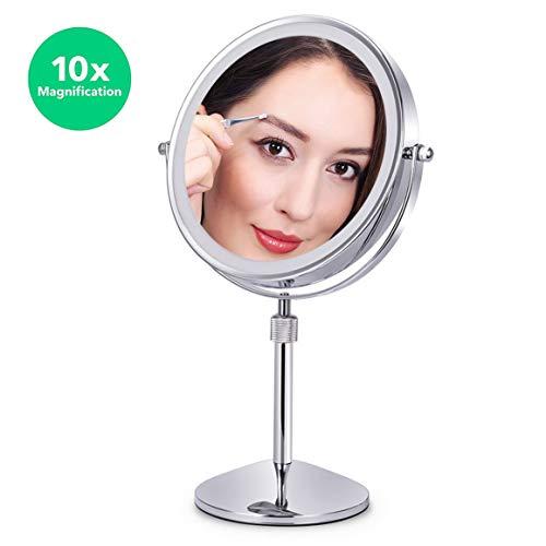 XIGG Miroir de Maquillage Miroir de Table Miroir Cosmétique, 10 Fois Grossissement Double Face avec Interrupteur Tactile, Idéal pour Rasage, Maquillage - Alimenté par Batterie