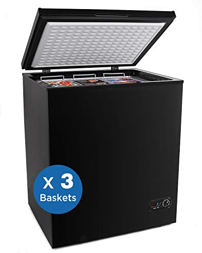 PROICER Chest Freezer Free-Standing Top Door Freezers 6.8℉ to -4℉ (Black, 5.0 cuft)