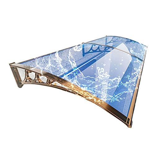 WXQ - Toldo de techo para patio (2,5 mm, policarbonato, para zonas de fumar, refugio, jardín, lluvia, nieve, protección (color: azul lago+champán, tamaño: 60 x 150 cm)