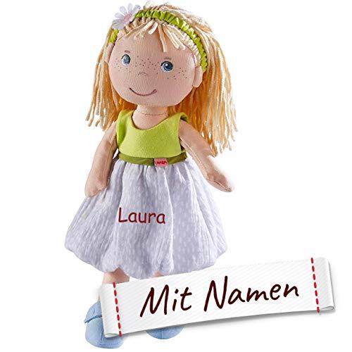 HABA Stoffpuppe Jil mit Namen Bestickt, weiche Erste Baby Puppe mit Kleidung und Haaren, 0-5 Jahre Kuschelpuppe Taufgeschenk, Anziehpuppe Kuschelpuppe 305239