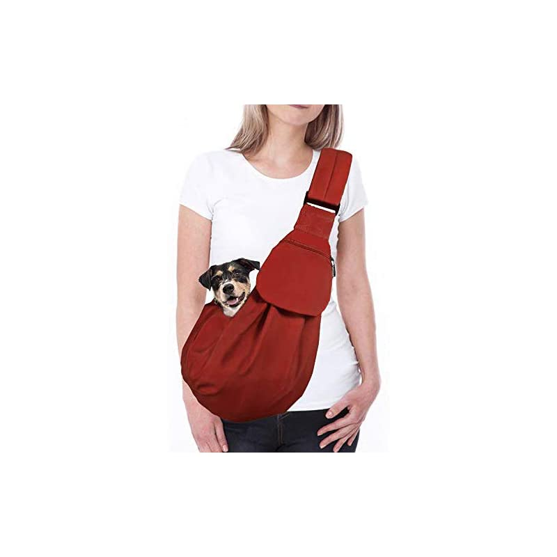 dog supplies online autowt dog padded papoose sling, small pet sling carrier hands free carry adjustable shoulder strap reversible tote bag with a pocket safety belt dog cat traveling subway (brick red water-resistant)