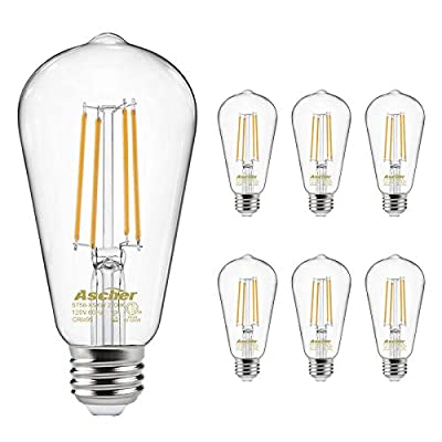 Vintage LED Edison Bulbs 60 Watt Equivalent, Eye Protection Led Bulb with 95+ CRI, Bright Warm White 2700K, Non-Dimmable, ST58 Antique LED Filament Bulbs, E26 Medium Base, Pack of 6