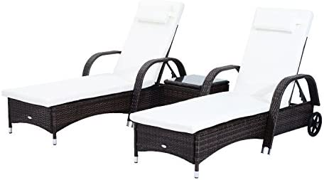 Best Outsunny 3 Piece Rattan Wicker Adjustable Chaise Lounge Chair with Wheels for Easy Moving & Padded C