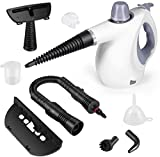 KoMeryic Handheld Pressurized Steam Cleaner with 9-Piece Accessory Set Multi-Surface and Chemical-Free All Natural Anthracite Steam Cleaning World's Best Steamers for Home, Auto, Patio, More(Gray)