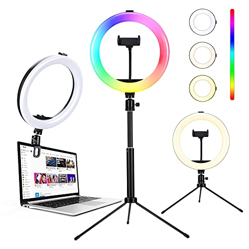 10' Selfie Ring Light with Stand, 10 Colors RGB LED Extendable Ring Light with Tripod, Clamp and...