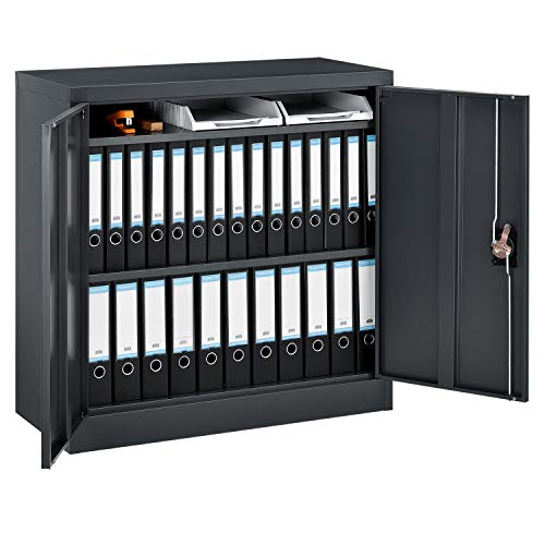 Juskys Metall Aktenschrank Office in 3 Ausführungen | abschließbar | 2 Schlüssel | anthrazit | Mehrzweckschrank Universalschrank Büroschrank (90 x 90 cm - 2 Türen)