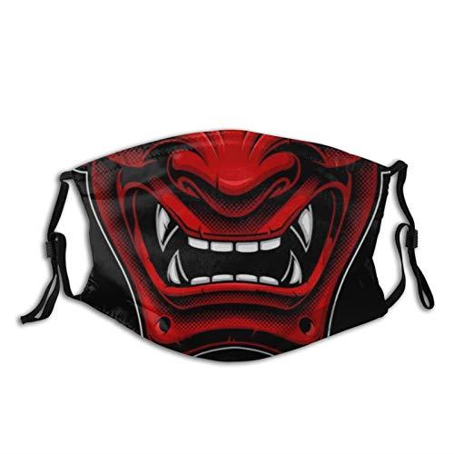 Evil Demon Monster Kabuki Samurai Hannya Oni Man Women's Reusable Adjustable Face Mask with Adjustable Ear Loops Cooling Bandana 03