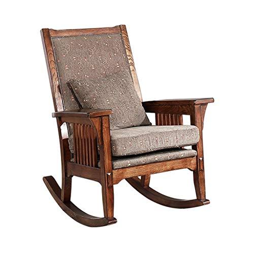 Schaukelstuhl Vintage massivem Holz, Baumwoll-Leinen-Kissen, Einzel-Sofa, Terrasse, Freizeit-Sessel