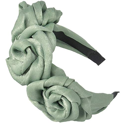 niumanery Womens Handmade Three Rose Flower Headband Imitation Silk Solid Color Hair Hoop Bean Green
