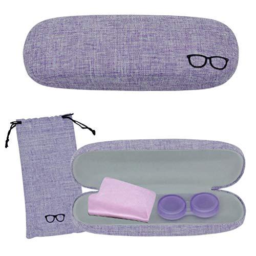 SwirlColor Brillenetui Kinder, Brillenetui Lila Leinen Retro für Damen Damen Mädchen mit Brillenetui, Brillenputztuch, Kontaktlinsenetui 4-TLG