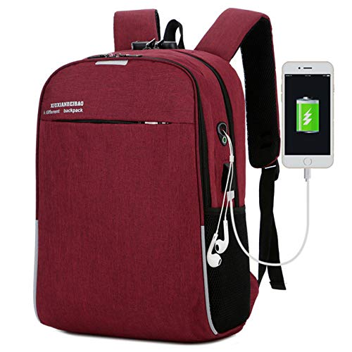 Zonkestar Laptop Backpack,16 inch Laptop Backpack Puersit Durable Business College Travel Daypacks,Waterproof Fashion Casual Daypack with USB Charging Port (red)