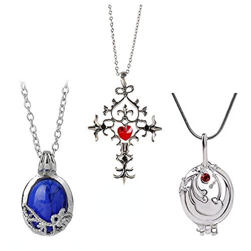 Yuemuop 3 Piezas Collar Cruz Rubí, Collar de Verbena, Collar con Colgante de Cristal de Zafiro, Collar Vintage Rubí para Unisex Regalos Creativos Accesorios para el Día a Día