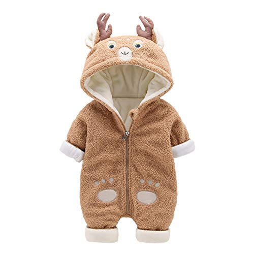 Baby Rompers Hooded Jumpsuit Boys Girls Fleece Reindeer Snowsuit Onesies Newborn Winter Warm Outfits Long Sleeve Cartoon Christmas Outerwear 6-9 Months Brown
