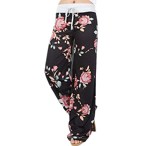 UNKN Stretch Floral Print Drawstring Sport Pants Collection Women's Brushed Jersey Pant Luxury Loungewear Gym Track Bottoms Black