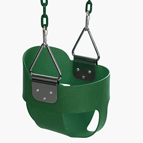Funmily High Back Full Bucket Toddler Swing Seat with 60 inch Plastic Coated Swing Chains & 2 Snap Hooks Fully Assembled - Swing Set (Green)