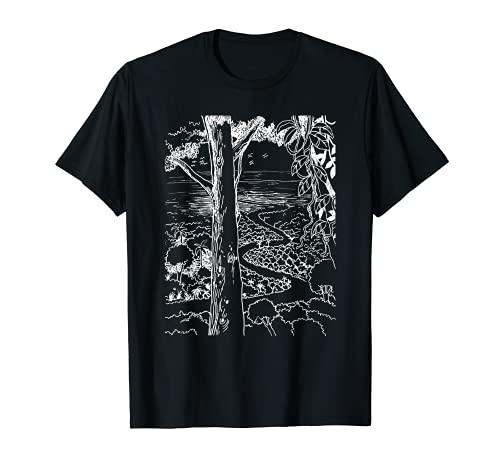Paraíso, tropical, sendero de la selva, playa de la isla, toldo Camiseta