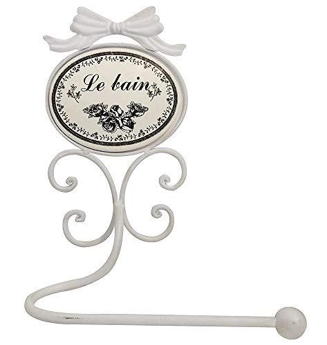 zeitzone Toilettenpapierhalter LE BAIN Toilettes Nostalgie Shabby Chic Antik-Stil Weiß