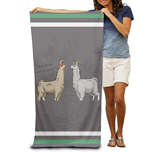kaifaquwukuibaihuodian Cute Llamas with Hats Adults Cotton Beach Towel 31 X 51-Inch