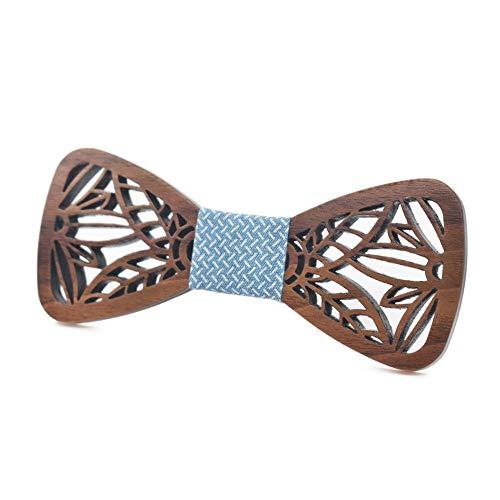 YYB-Tie Mode binden Schnitzen Sie Muster oder Designs auf Holz Klassische Holzfliege Oren Krawatte Freizeit Mode Hochzeit Zubehör Massivholz Fliege (Farbe : Blau)