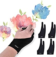 OTraki 4 Pack Artist Gloves Anti Smudge Two Fingers Drawing Gloves for Paper Sketching, Pad Monitor, Graphics Tablet, Universal for Left and Right Hand - 2.75x7.08 inch