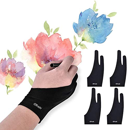 OTraki 4 Pack Artist Gloves for Drawing Tablet Free Size Artist s Drawing Glove with Two Fingers for Graphics Pad Painting Good for Right Hand or Left Hand - 2.95 x 7.87 inch