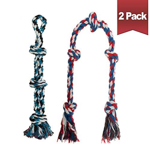 BINGPET Hundespielzeug aus Seil für mittelgroße bis große Hunde (60 cm + 124,5 cm) – 2er-Pack interaktives aggressives Kauspielzeug Set – langlebiges Spielzeug zum Ziehen des Krieges, 100% Baumwolle