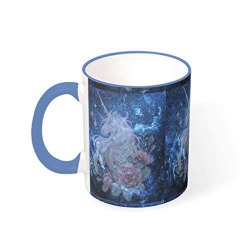 O2ECH-8 Wasser Cappuccino Becher mit Griff Porzellan Personal Mug - Galaxy Mädchen Geschenke, Geeignet für Mädchen verwenden 11 Unze Steel Blue 330ml