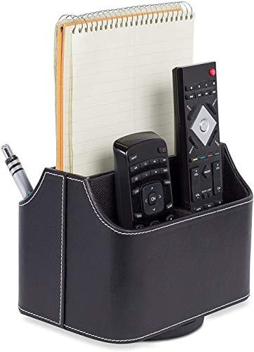 Internet 's Best PU Leder Drehbarer Halter Controller Fernbedienung | Schreibtisch & Coffee Tisch Speicher für Mail, Tablet, Telefon und Fernbedienung Controller | schwarz