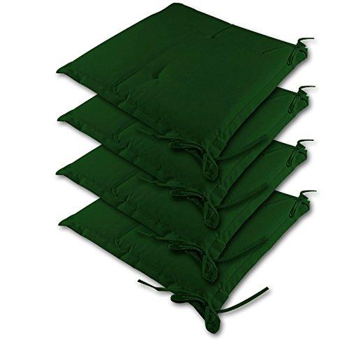 4X Coussins pour Chaise Vert - Galette Dessus de Chaise 41cm - Jardin Terrasse