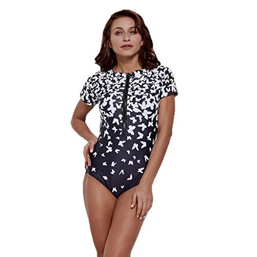 iYmitz Damen Kurzarm Surfanzug mit Schmetterling Einteiliger Tauchen Schnelltrocknend Strand Surfen Badeanzug(Schwarz,XL)