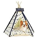 Tipi De Mascotas con Almohada | Caseta para Perros Y Gatos - Cortinas De Lujo para Perros Y Gatos - Casitas para Mascotas con CojIn Y Pizarra (Azul Oscuro) (Beige)