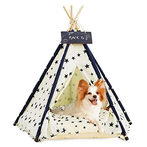 Tipi De Mascotas con Almohada   Caseta para Perros Y Gatos - Cortinas De Lujo para Perros Y Gatos - Casitas para Mascotas con CojIn Y Pizarra (Azul Oscuro) (Beige)