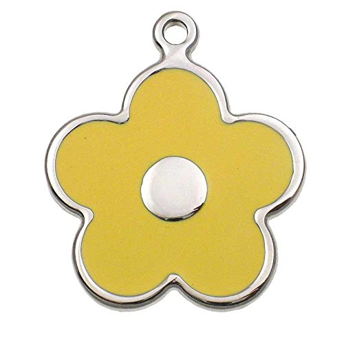 LuckyPet Pet ID Tag - Stainless Steel Flower Jewelry Tag - Dog & Cat Tags - Custom Engraved on Back - Size: Large, Color: Yellow