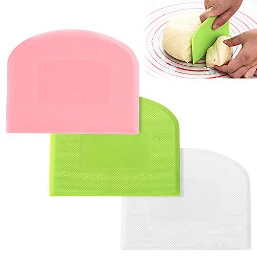 Xingsky Raspador de Masa de Plástico,Rasqueta Panadero,3 Piezas Espatula Plastico, para Cortar Masa Tarta Pasteles Pizza