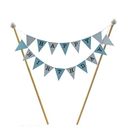 amazing buntings, Happy Birthday, Kuchen Ammer, Kuchendeckel, Blau Pastell, Kleine Fahnen