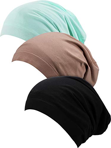3 Pieces Satin Lined Sleep Cap Slouchy Sleeping Hat Beanie Slap Hat for Women Black Green Khaki