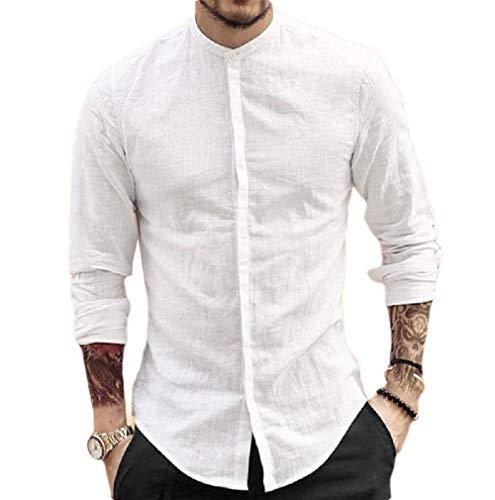 Camisa social masculina VITryst-Men slim fit gola alta manga comprida lisa de linho abotoado, Branco, Medium