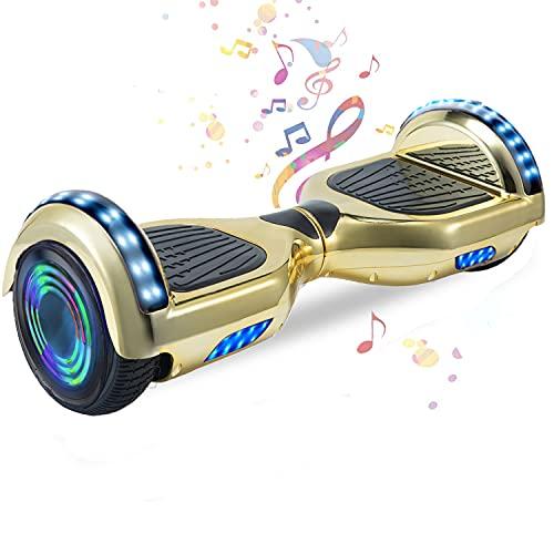 HappyBoard 6.5'' Hoverboard Patinetes de Acrobacias Patinete Eléctrico Bluetooth Monopatín Scooter Autobalanceado, Ruedas de Skate con luz LED, Motor Bluetooth de 700W (Cromo Violeta)