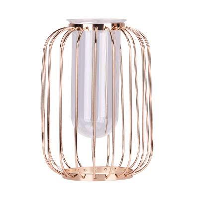 Jarrón de oro en forma de linterna de hierro forjado, candelabro de alambre de tubo de vidrio, maceta adecuada para arreglos florales de boda/interior/oficina decoración de ramos(champán dorado)
