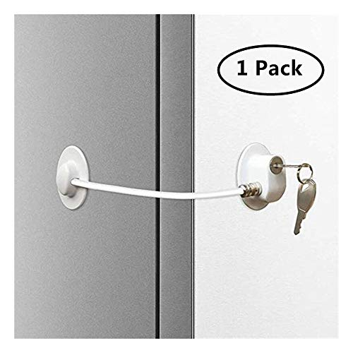 Window Deur Restrictor, Beveiliging Koelkast Deurvergrendeling Met 2 Sleutels, Drawer Door Cabinet Toilet Lock (Color : White)